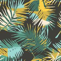 Seamless exotic pattern with tropical plants and artistic background.