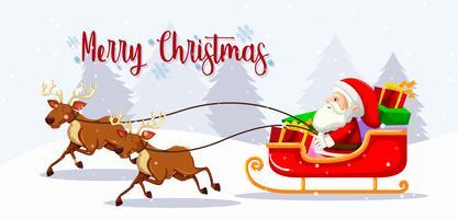 Feliz Natal Santa no trenó