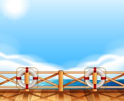 Background design with ocean and deck