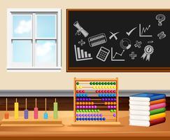 Sala de aula com livros e instrumentos