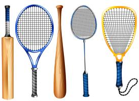 Rackets and bat vector