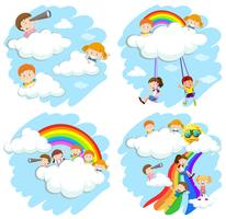 Happy children on fluffy clouds and rainbow