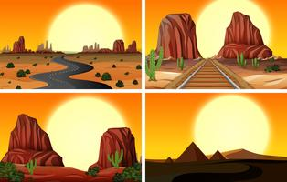 A Set of Desert Landscape vector