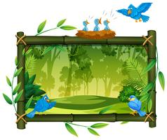 Bird on nature wooden frame