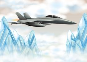 Fight jet plane flying over icy mountain