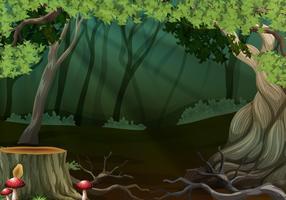 Bosque oscuro con árbol de tocón
