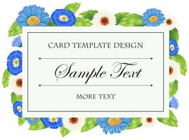 Card template with blue flowers