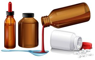 Medicamentos líquidos y tabletas.