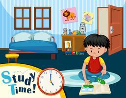 Un niño estudiando en dormitorio