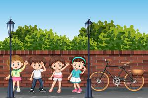 Group of children in street vector