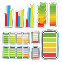 Klistermärke med olika nivåer av staplar