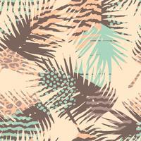 Resumen patrón sin costuras con estampado animal, plantas tropicales y formas geométricas.