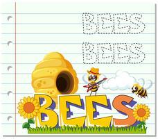 Bees flying in garden