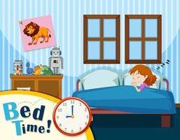 Ein junges Mädchen, das im blauen Schlafzimmer schläft