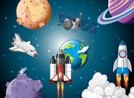 Escena de cohetes en el espacio.