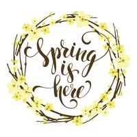 Sping is here. Lettering design with flowering branches.