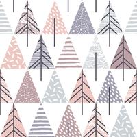 Abstract geometric seamless repeat pattern with christmas trees. vector