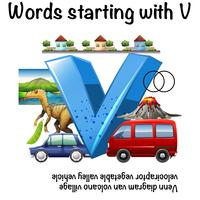 Worksheet design for words starting with V