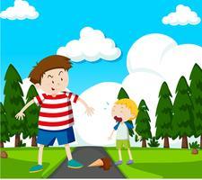 Crianças em uma ilustração de cena do parque