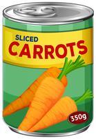 Een gesneden wortelen in Can