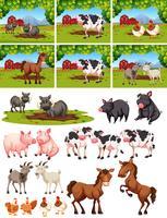 Conjunto de animais na fazenda