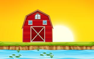 Red barn scene sunset