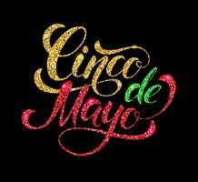 Diseño de letras brillantes del Cinco de Mayo.