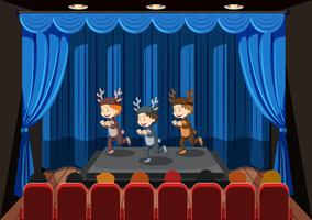Children performing on stage vector