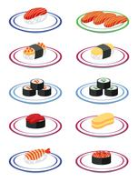 A set of japanese sushi vector