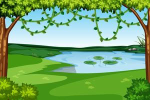 A nature lake view vector