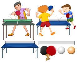 Set de tenis de mesa con jugadores y equipamientos.