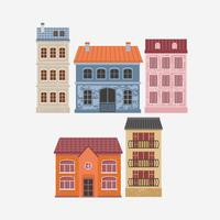 Vector illustration of building. Color houses.