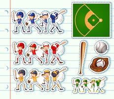 Aufkleberentwurf für Baseballspieler und -feld