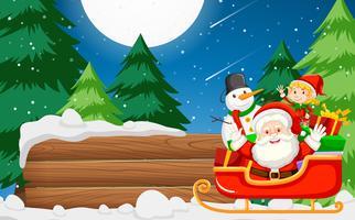 Papá Noel con estandarte de madera.