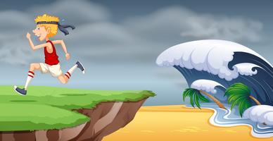 Un homme qui court à la falaise