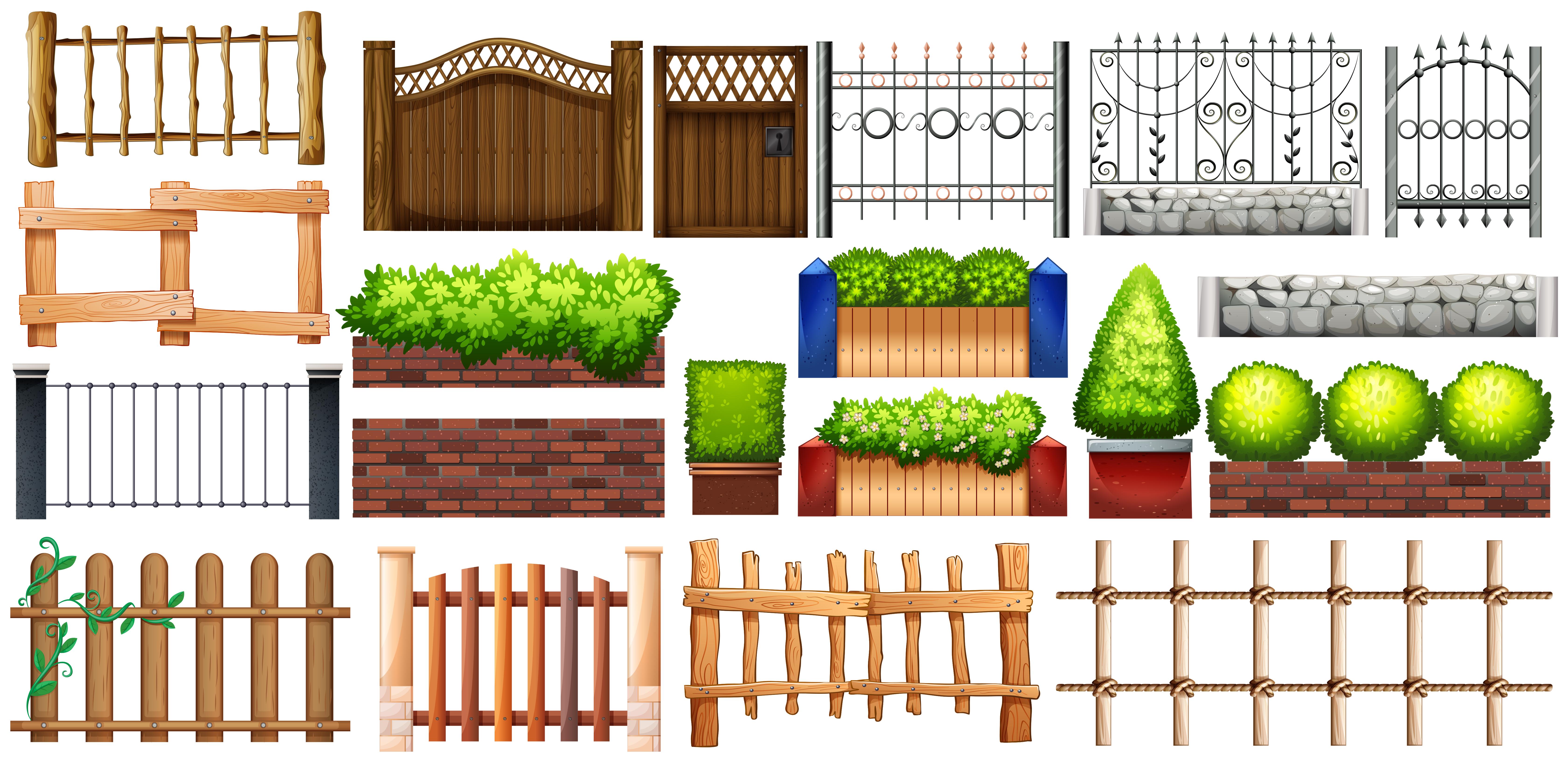 Staccionata Bianca In Legno design diverso di recinzione e muro - scarica immagini