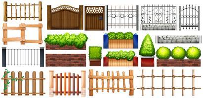 Olika utformningar av staket och vägg