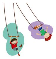 Two boys playing on hand swing