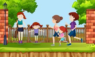 Escena de personas haciendo ejercicio