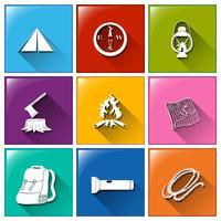 Botões com os diferentes materiais de acampamento