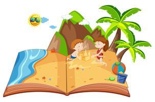 Barn som leker på en ö pop up bok