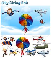 Equipo de paracaidismo con personas y equipamiento.