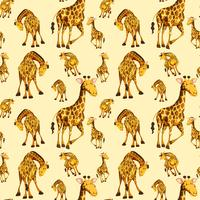 Giraffe on seamless pattern