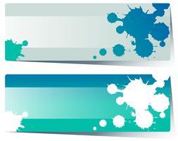 Etikettdesign med blått stänk