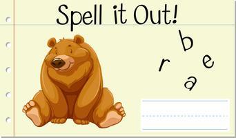 Deletrear la palabra inglesa oso