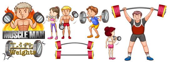 Les gens exercent avec soulever des poids