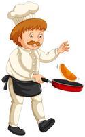 Cocinero de sexo masculino que cocina en el fondo blanco
