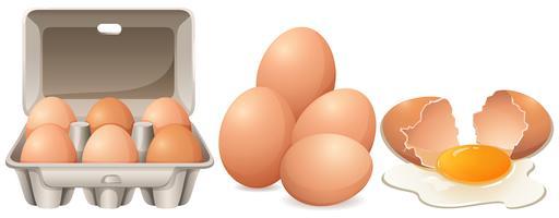 Huevos en caja de cartón y huevo agrietado.
