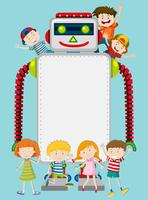 A robot and happy kids template