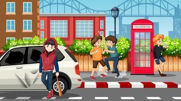 Slechte teenagers in de straat